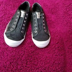 EUC Coach black.classic C canvas logo tennis shoes